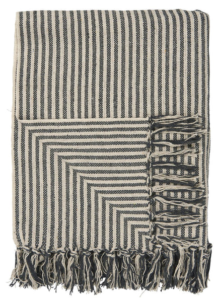 Cream and Black Wide Stripe Throw
