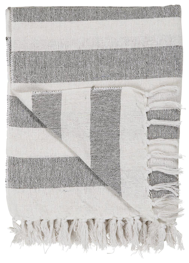 Throw - White with Black Stripes
