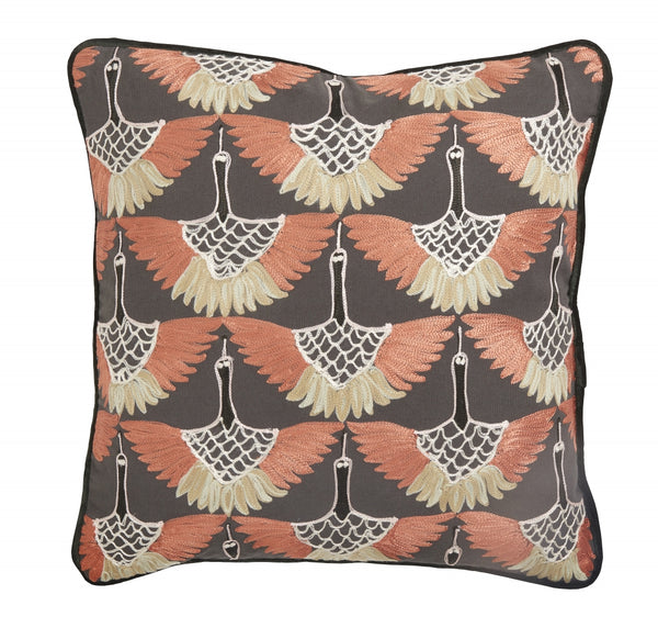 Cushion, dark orange bird embroidery