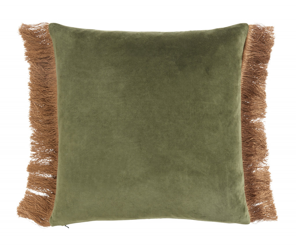 Cushion cover w/fringes - dusty green