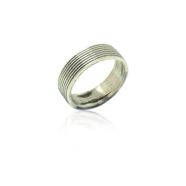 925 Solid Silver Oxidised Ribbed Band