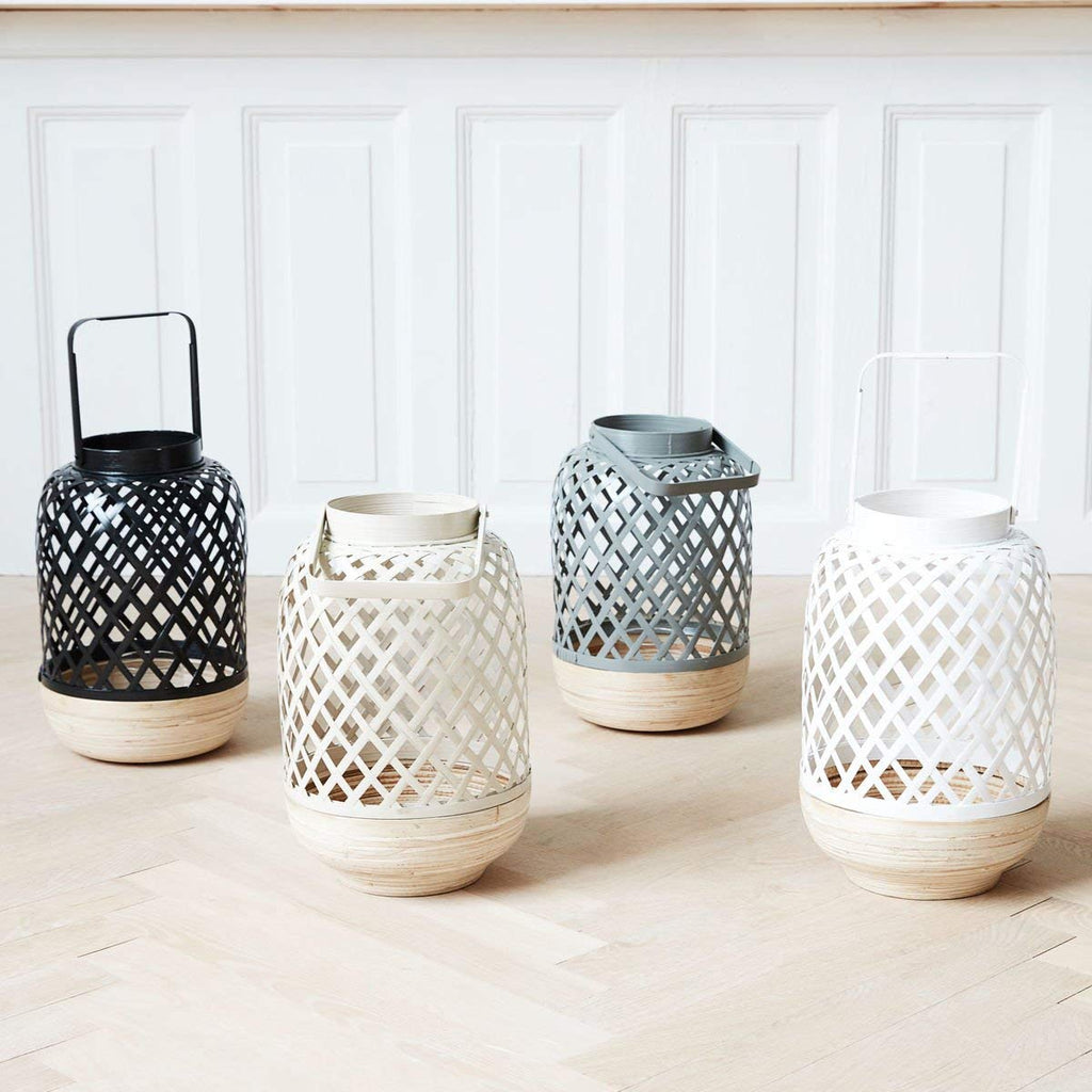 Bamboo LANTERN WITH GLASS BOWL black