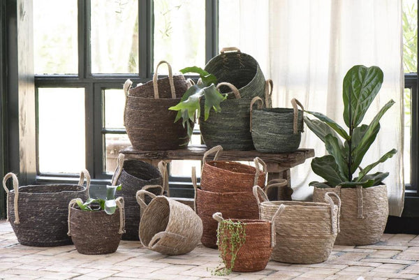 Basket set of 3 w/jute handles brown