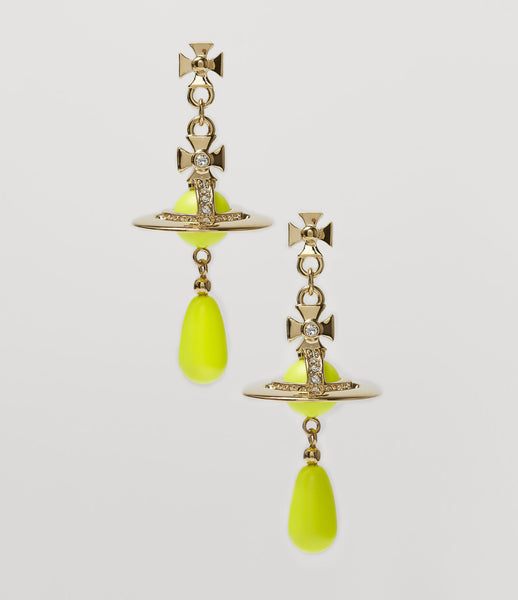 Vivienne Westwood Neon Pearl Earrings Yellow