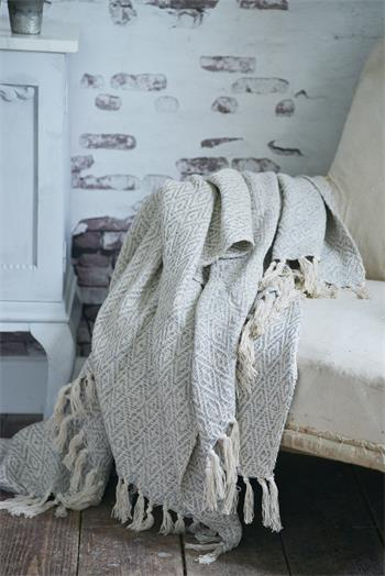 Cotton Throw- Cream/grey