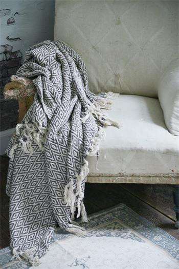 Cotton Throw- Cream/brown