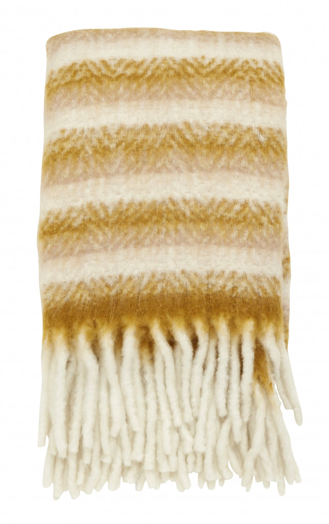 Mustard/Off White Blanket - Mohair Look