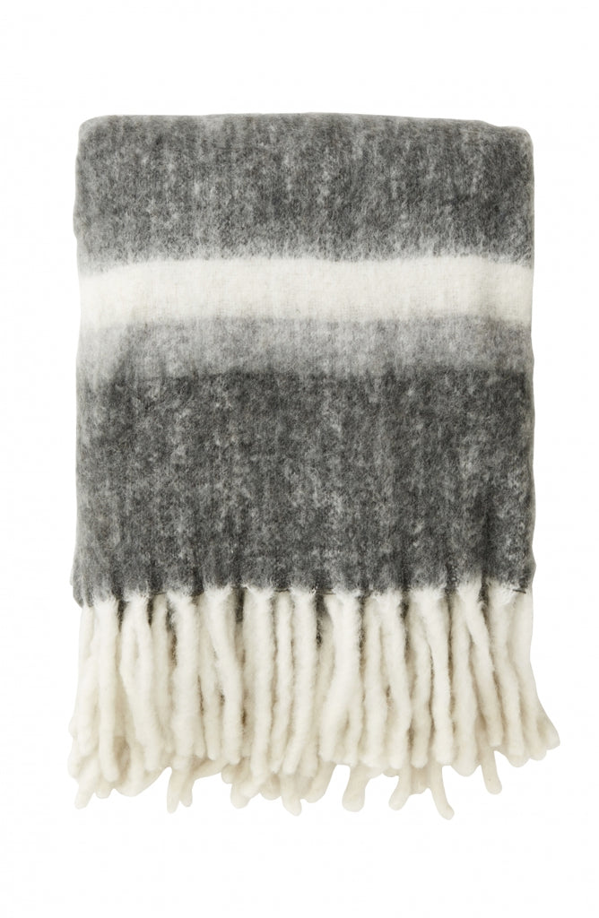 Grey Striped Blanket - Mohair Look