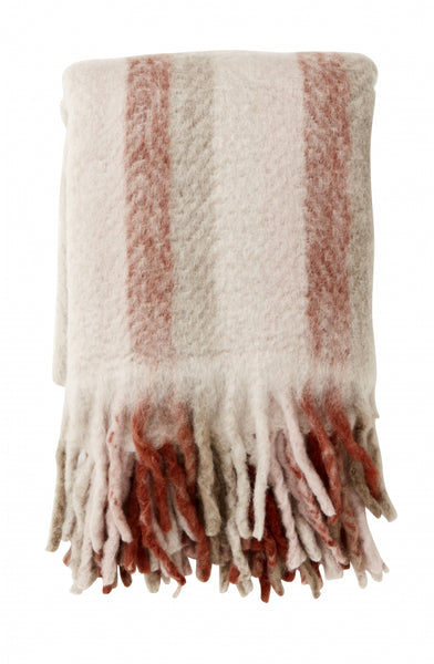 Blanket, rose stripes, mohair look