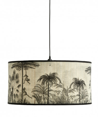 BAUBO lamp shade, nature/black print