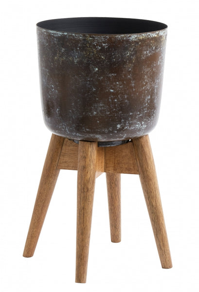 Planter on stand, medium, stained/wood