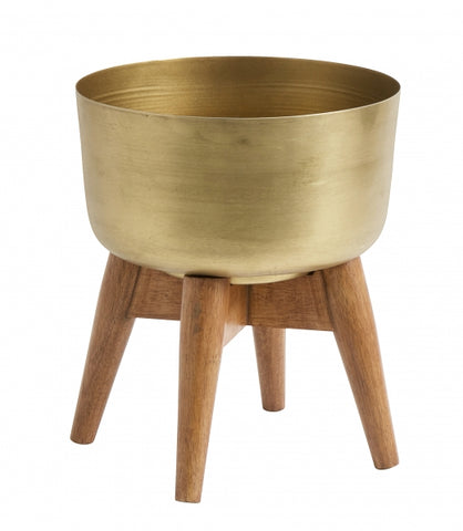Planter on stand, small, BRASS/wood
