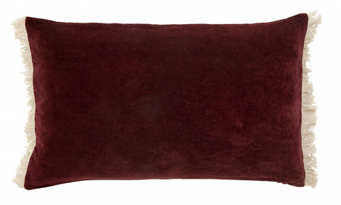 Cushion with Fringe - Burgundy