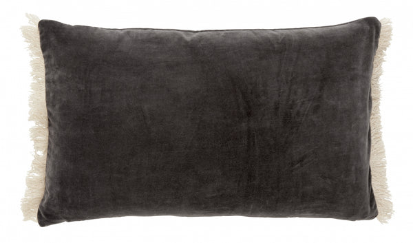 Velvet Cushion with Fringes Dark Grey