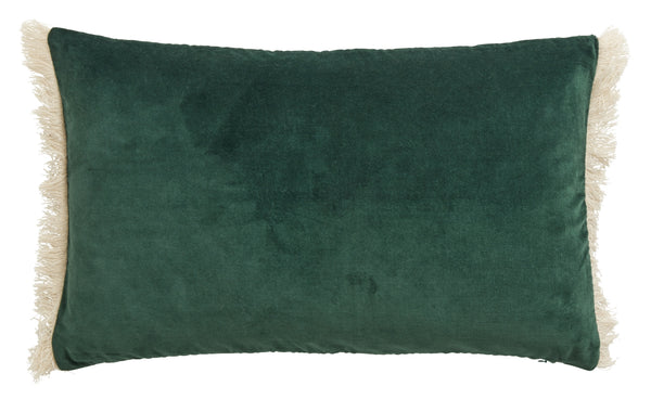 Cushion with Fringe - Dark Green
