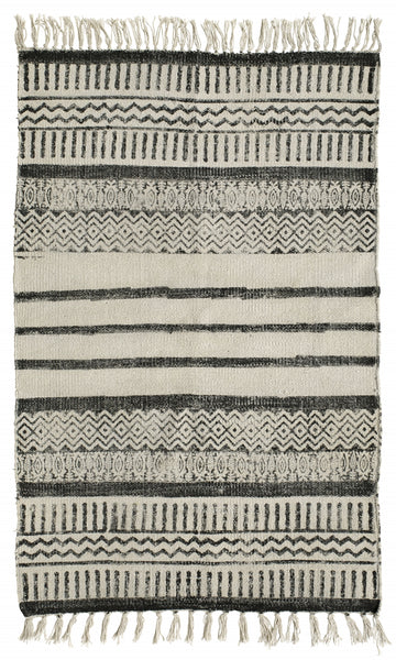 Canvas carpet, print, off white/black