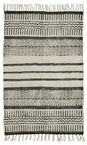 Canvas carpet, print, off white/black 150x75