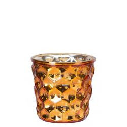 Dotted Shiny Tea Light Holder- Orange