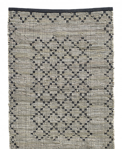CHINDI RUG woven rug, leather/cotton SMALL