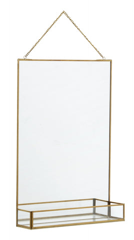 Hanging mirror with shelf
