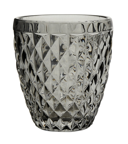 Diamond Drinking glass/ T-light - Smoke