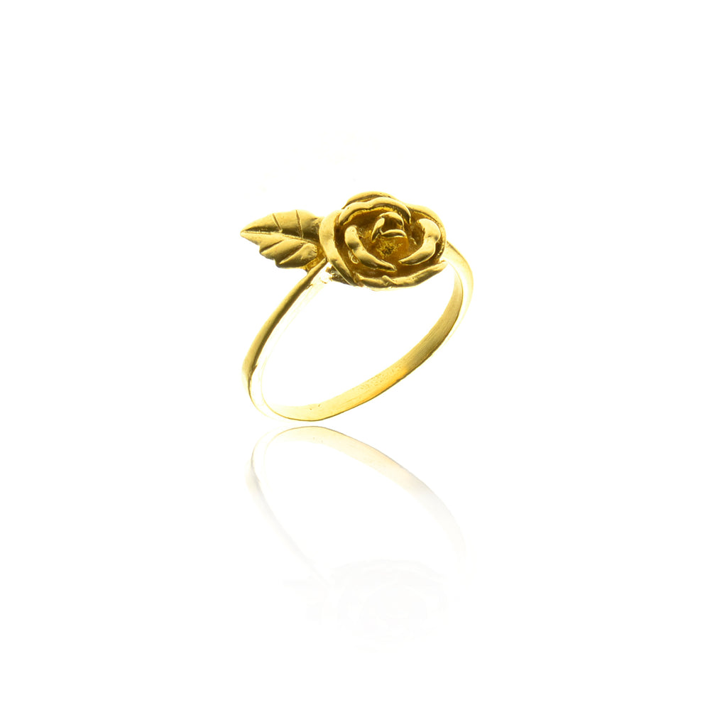 925 silver rose and leaf ring - Gold plated
