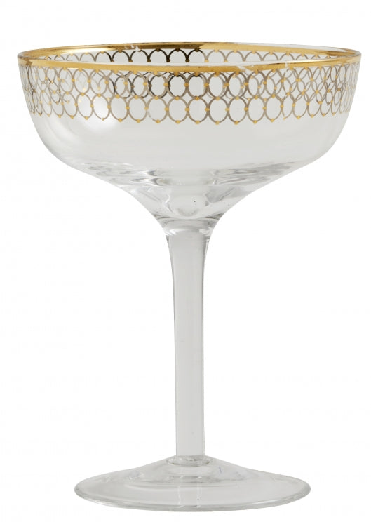 Cocktail Glass w. Gold Pattern