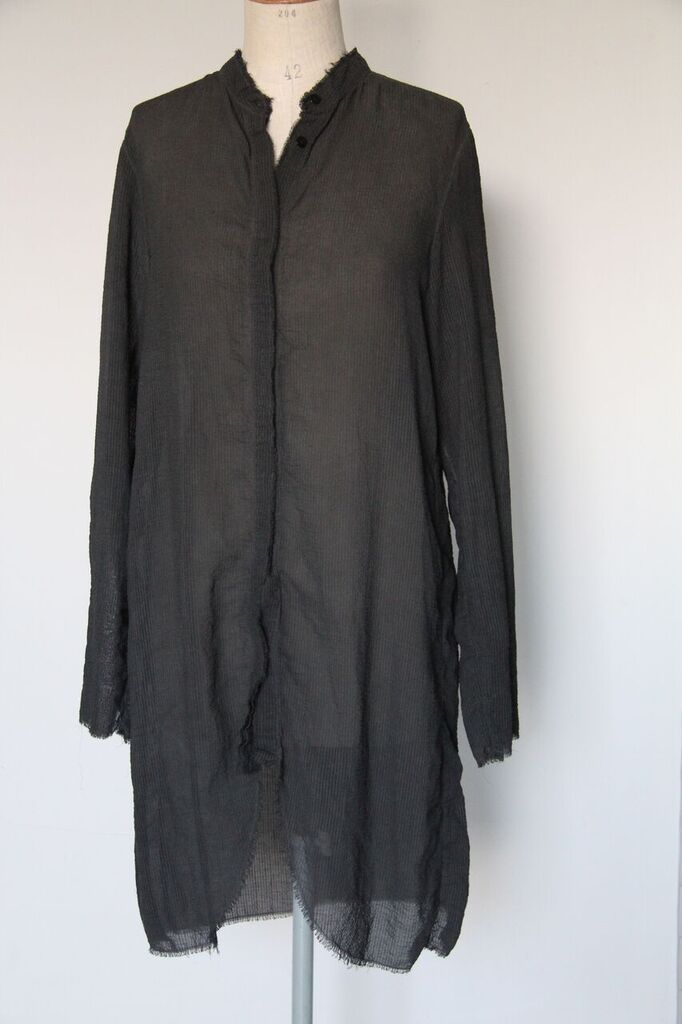 un-namable Corean Striped Shirt Dyed- graphite