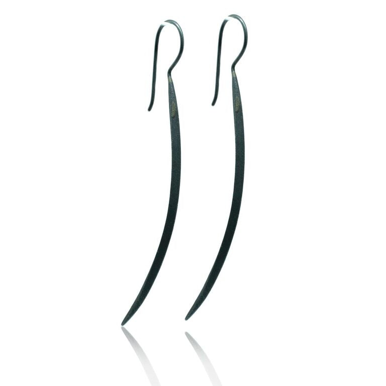 CollardManson 925 Silver Long Curved Earrings- oxidised
