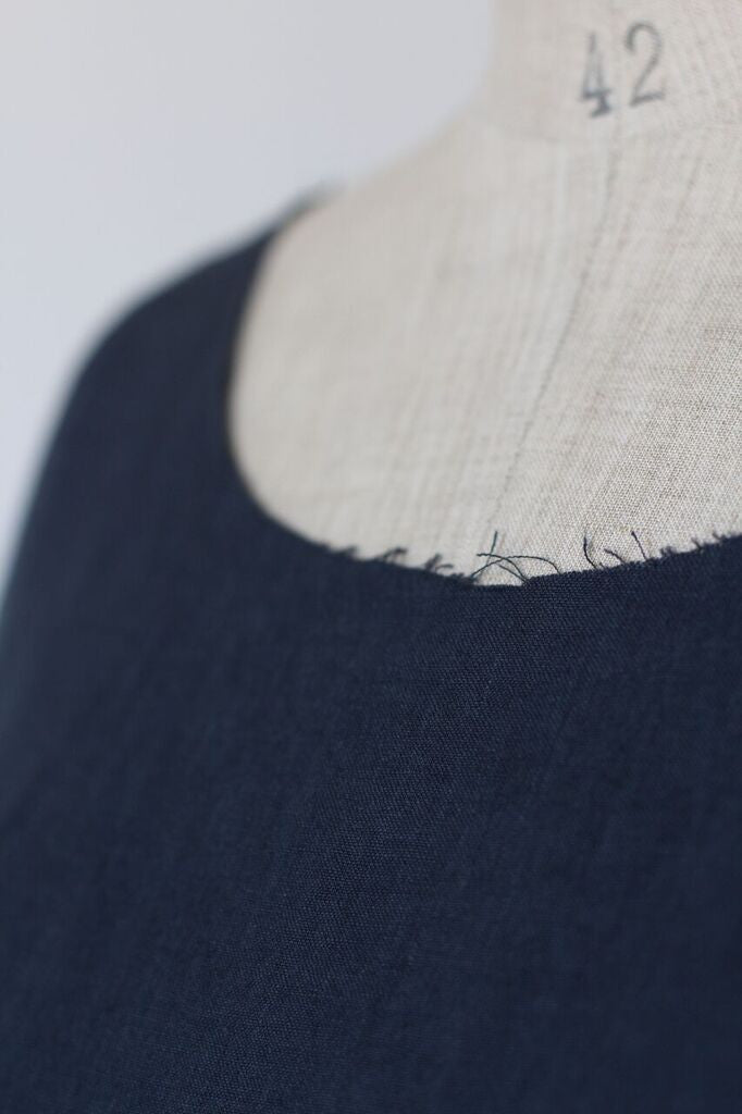 frayed edge linen top- blue