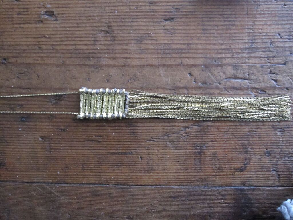 Brass Track necklace with grey cotton