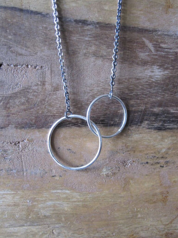 925 Silver Double  Hoop Necklace