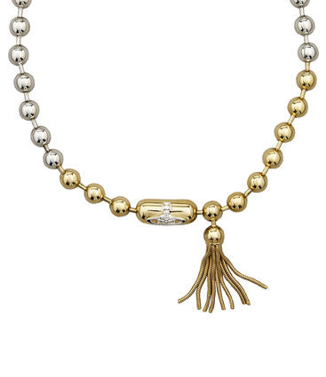 Vivienne Westwood olga tassle necklace - rhodium/gold/rhodium orb/Brass