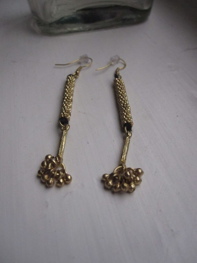 Brass beaded drop earrings with grey cotton
