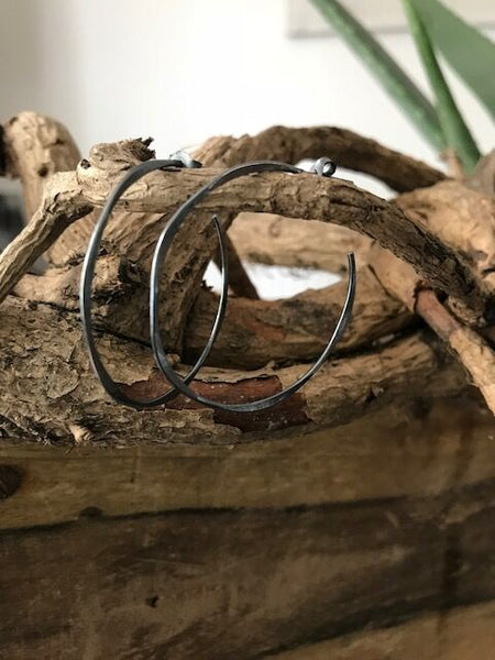 Distressed Oxidised silver hoop earrings
