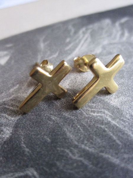 925 Silver Crucifix Studs- gold plated