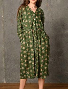 CHICOSOLEIL CAMILLA-A -ROBE LONGUE BOUTONNAGE FACE AVEC MANCHE HEART FLOWER GREEN COTON