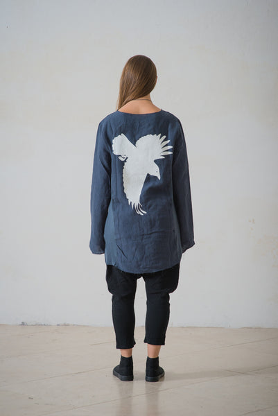 WDTS frayed edge linen top- blue with crow silhouette