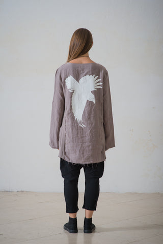 WDTS frayed edge linen top- stone with crow silhouette.