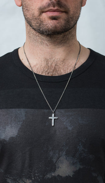 925 Silver Hammered Cross Necklace- oxidised