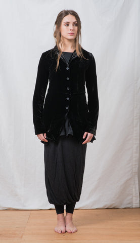 WDTS 5 Button Velvet Jacket in Black