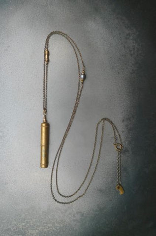 Brass compass lead case necklace