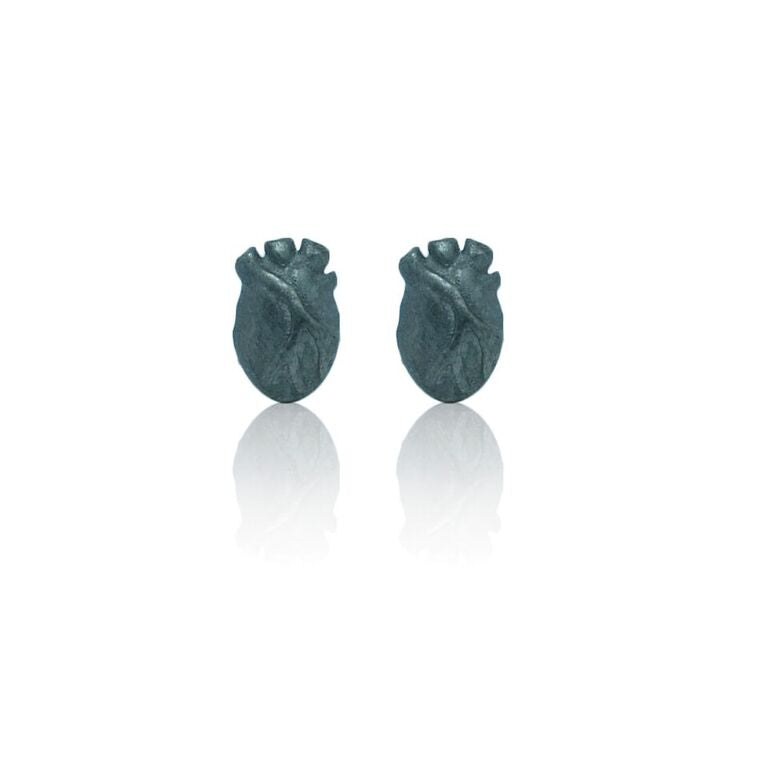 WDTS 925 Silver Oxidised Heart Earrings
