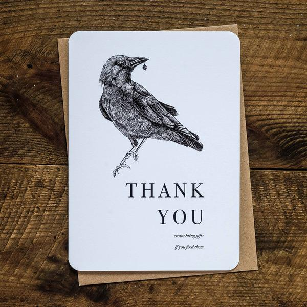 Crow Thank you Card Card