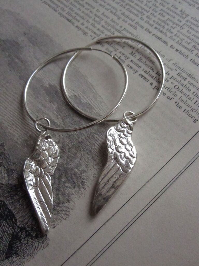 CollardManson 925 Silver Wing Hoop Earrings