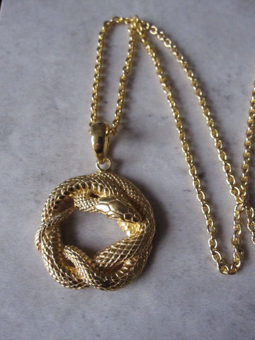 925 Silver Snake necklace - Gold