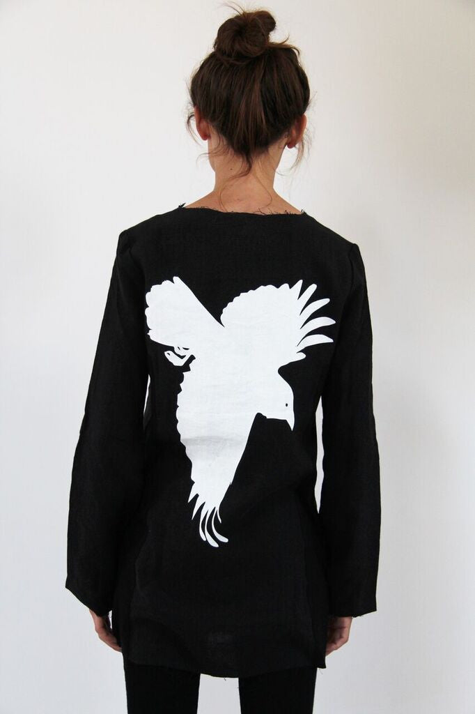 WDTS- Crow on Back Linen Top- black