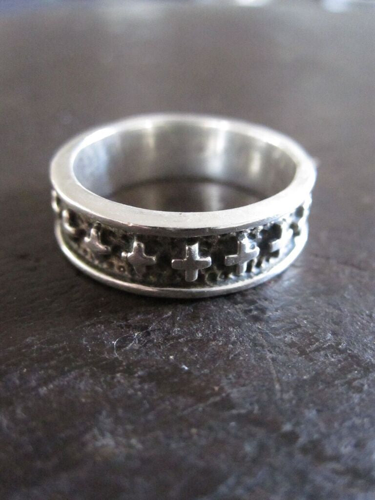 WDTS 925 Silver Cross Band Ring