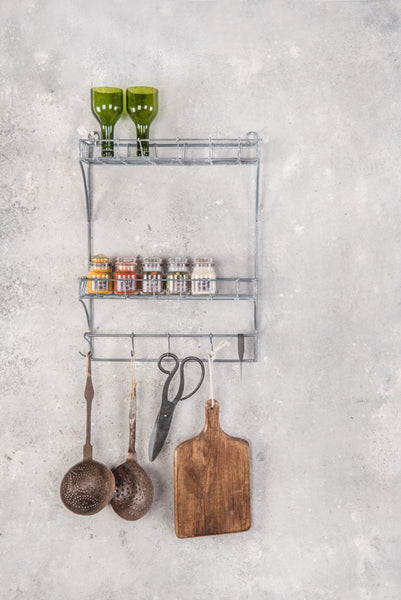 TWO-TIERED WIRE SHELF RACK WITH HOOKS