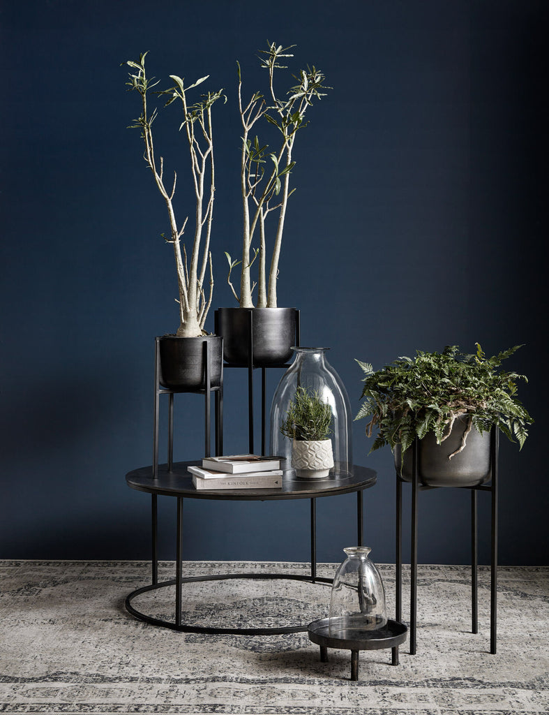 Planter on stand, large, black oxidized